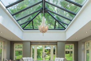 view of glass roof
