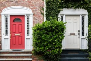 red and white front doors